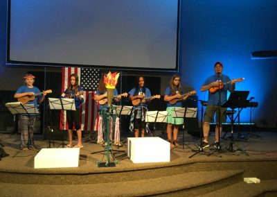 Family worship at church in san clemente